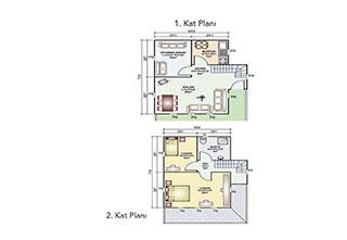 Prefabrik Ev Çift Katlı 100 m²