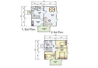 Prefabrik Ev Çift Katlı 114 m²