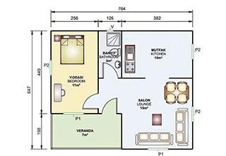 Prefabrik Ev Tek Katlı 49 m²
