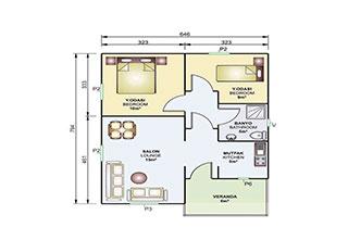 Prefabrik Ev Tek Katlı 53 m²