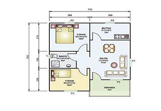 Prefabrik Ev Tek Katlı 62 m²