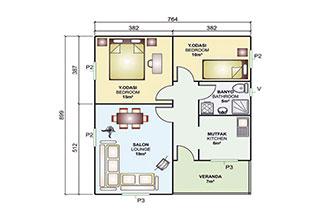 Prefabrik Ev Tek Katlı 68 m²