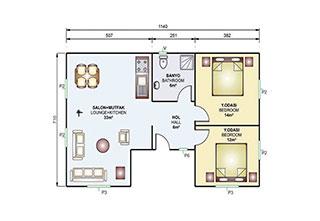 Prefabrik Ev Tek Katlı 73 m²