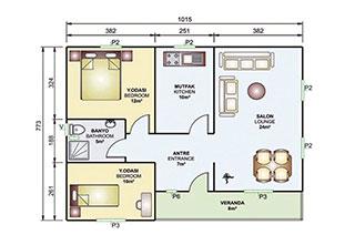 Prefabrik Ev Tek Katlı 78 m²
