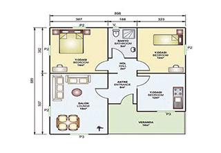 Prefabrik Ev Tek Katlı 85 m²